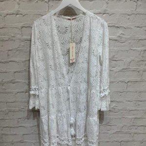 Crochet net long tie up cardigan in white