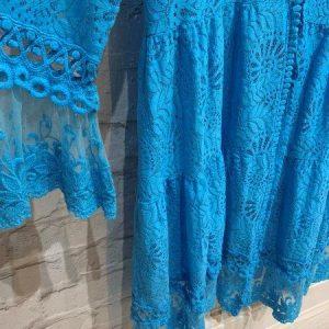 Crochet net long tie up cardigan in turquoise