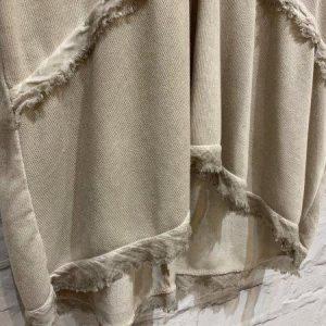 Beige light knit v neck top