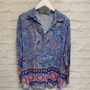 Blue paisley print blouse with collar