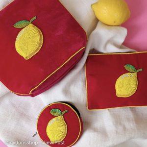 FUCHSIA PINK VELVET BEADED LEMON MAKE-UP BAG