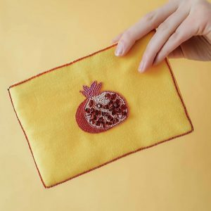 Fruit print velvet purse