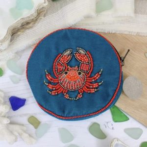Crab beaded velvet coin purse