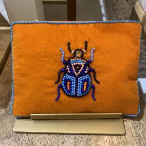 Beetle beaded orange purse