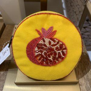 Fruit print velvet coin purse