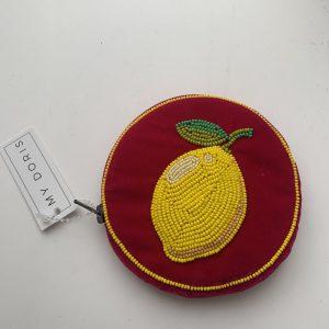 Fuschia lemon velvet coin purse