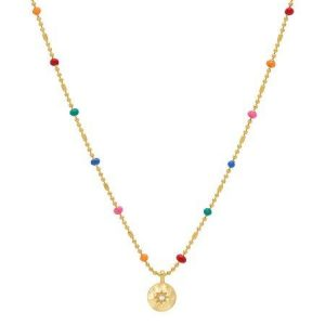 Estella Bartlett CZ Pendant rainbow beaded necklace
