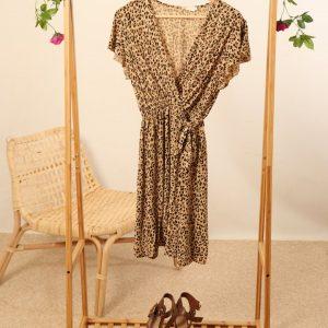 Leopard short wrap dress camel