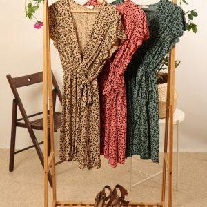 Leopard short wrap dress fuschia