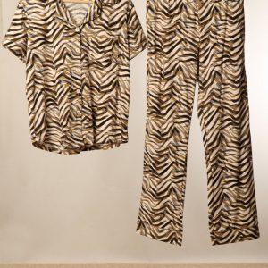 Khaki black painted zebra print pjs