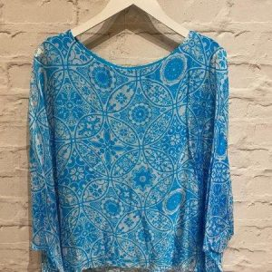 Turquoise floaty silk top