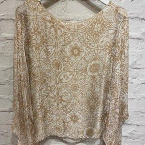 Taupe floaty silk top