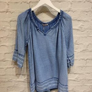 Blue lace trimming v neck top