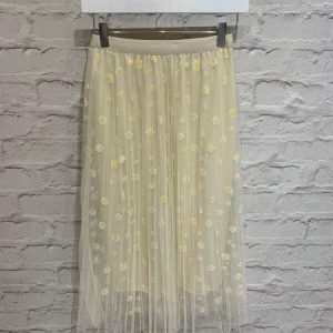 Cream daisy print mesh skirt