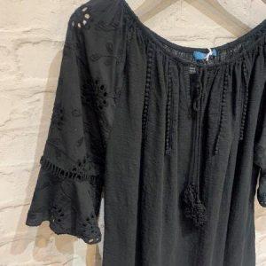 Black crochet off shoulder top