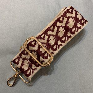 Bag strap neutral & burgandy