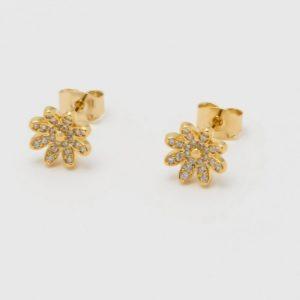 Gold daisy wildflower CZ stud earrings