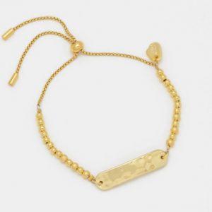 Gold Hammered ID Bar Beaded Amelia Bracelet