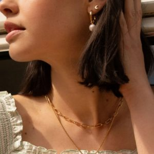 Gold paperlink chain necklace
