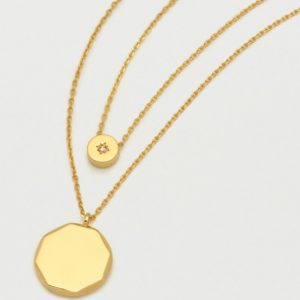 Gold double chain CZ slider & disc necklace