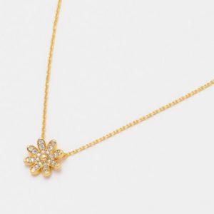 Gold daisy wildflower CZ pendant necklace