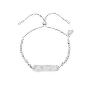 Silver Hammered ID Bar Beaded Amelia Bracelet