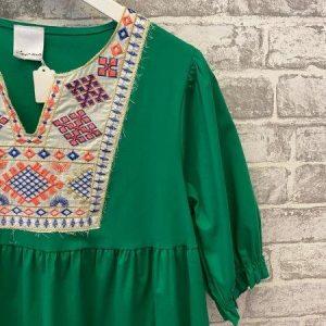 Green boho tiered dress