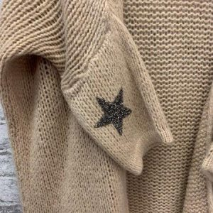 Camel chunky knit cardigan with star detailing