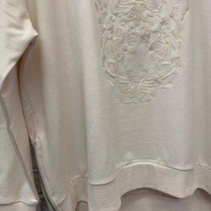 Cream tiger embroidered zip sweatshirt