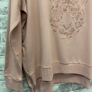 Pink tiger embroidered zip sweatshirt