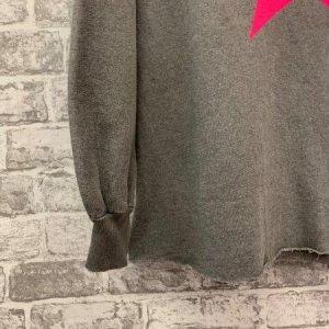 Grey vintage wash raw edge star jumper