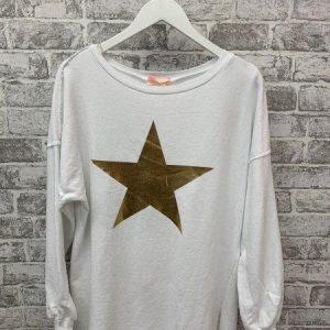 White raw edge star jumper