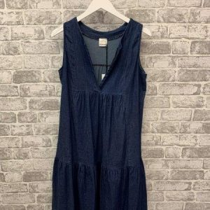 Denim sleeveless tiered tunic dress