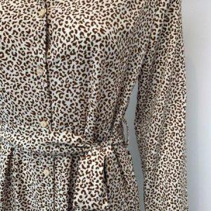 Brown & cream leopard shirt dress