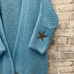 Blue chunky knit cardigan with star detailing
