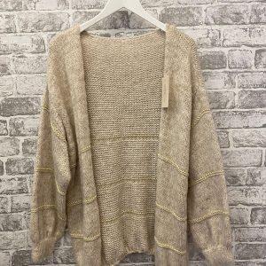 Beige & gold stripe knitted cardi
