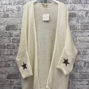Cream chunky knit cardigan with star detailing