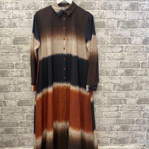 Brown silk tie dye shirt dress
