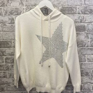 Cream star knitted hoodie
