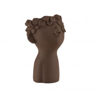 Brown planter pot with wreath small