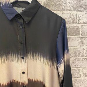 Blue silk tie dye shirt dress