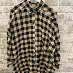 Beige & black oversized shirt