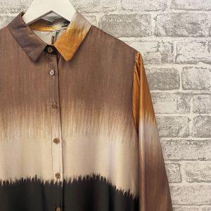 Burnt orange tie dye silk shirt dress