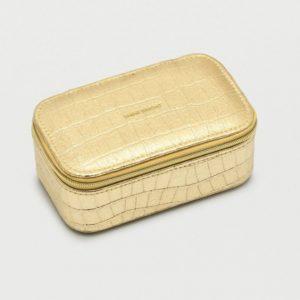Shine Bright Mini Jewellery Box Gold Croc