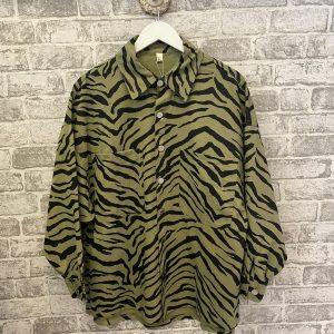 Green zebra shacket