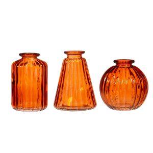 Amber glass bud vases- set of 3