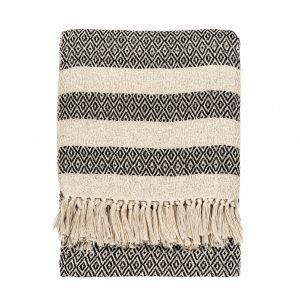 Black & white scandi boho blanket throw