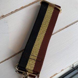 Bag strap brown & gold stripe