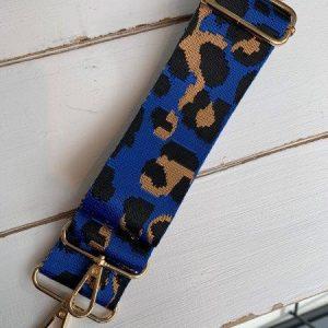 Bag strap blue leopard