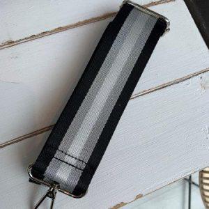 Bag strap black & silver stripe